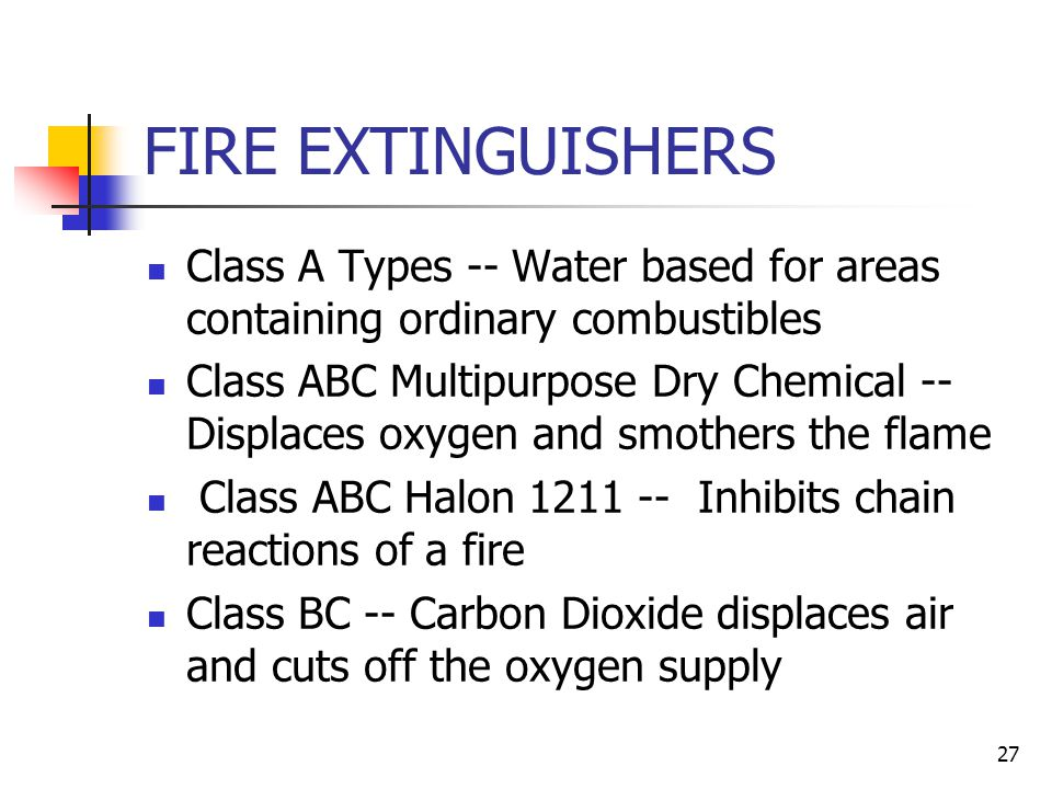 FIRE EXTINGUISHERS Class A Types -- Water based for areas containing ordinary combustibles.