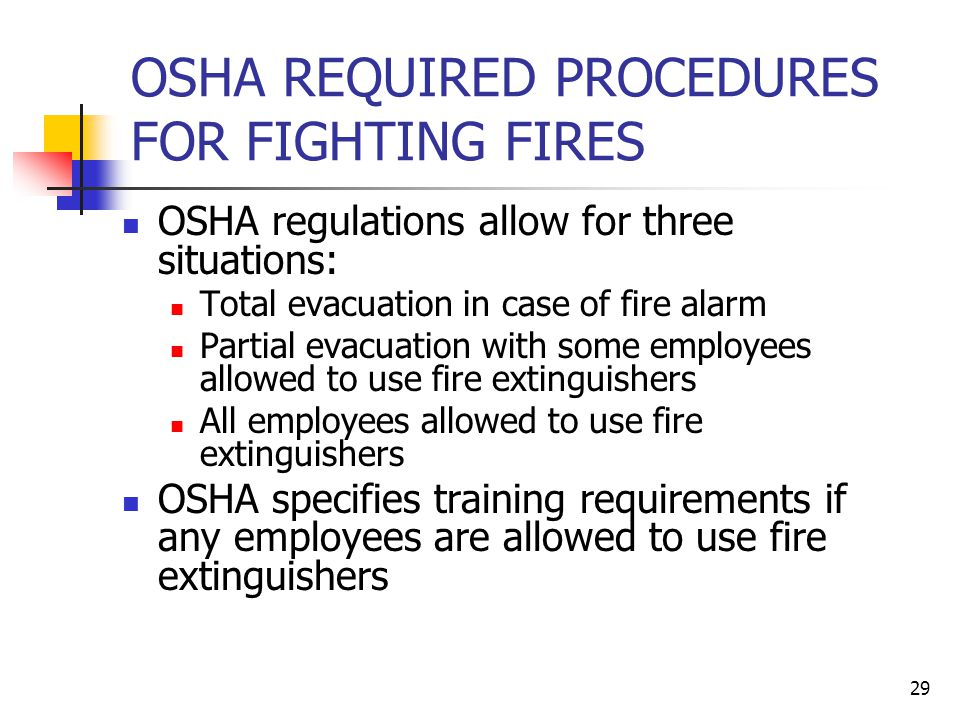OSHA REQUIRED PROCEDURES FOR FIGHTING FIRES