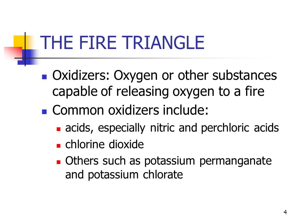 THE FIRE TRIANGLE Oxidizers: Oxygen or other substances capable of releasing oxygen to a fire. Common oxidizers include: