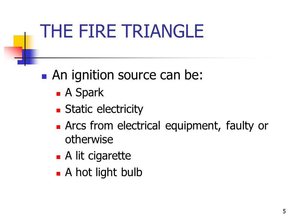 THE FIRE TRIANGLE An ignition source can be: A Spark