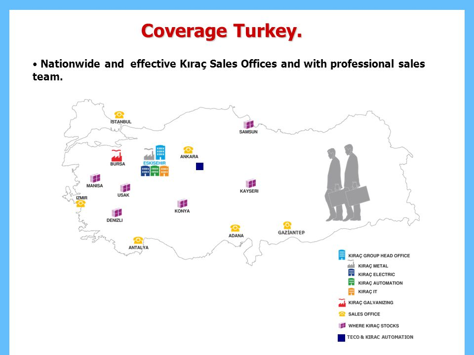 Coverage Turkey. Nationwide and effective Kıraç Sales Offices and with professional sales team. GAZİANTEP.