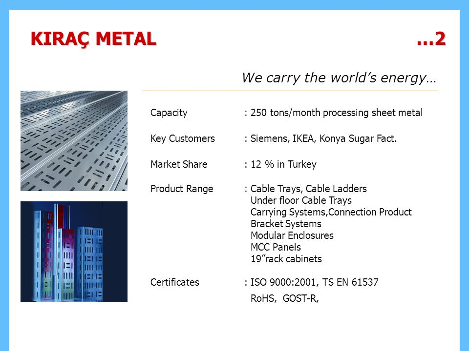 KIRAÇ METAL …2 We carry the world's energy…