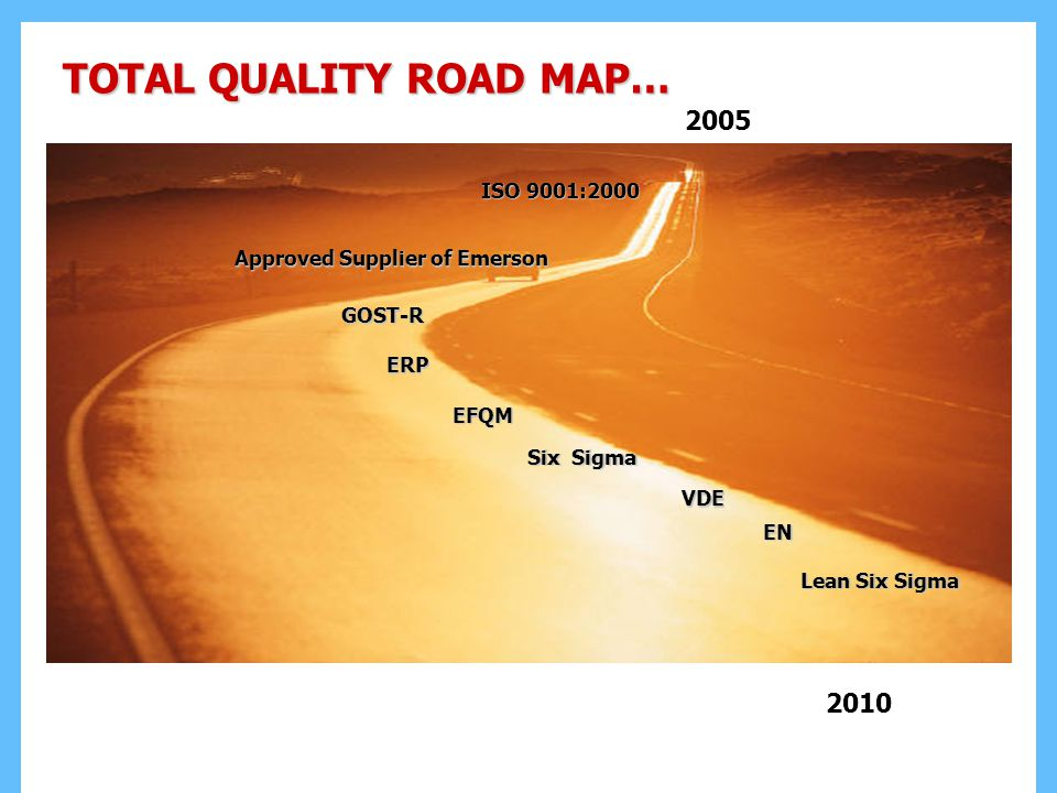 TOTAL QUALITY ROAD MAP… Approved Supplier of Emerson