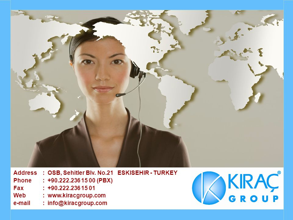 Address. : OSB, Sehitler Blv. No. 21 ESKISEHIR - TURKEY Phone. : +90