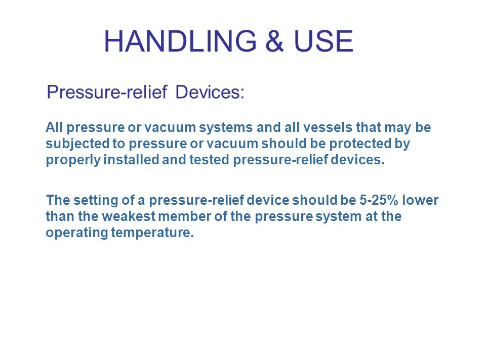 Pressure-relief Devices: