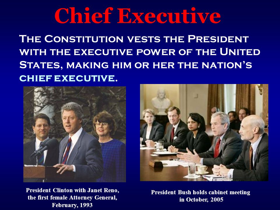 Chief Executive The Constitution vests the President with the executive power of the United States, making him or her the nation's chief executive.
