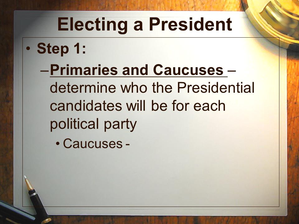 Electing a President Step 1: