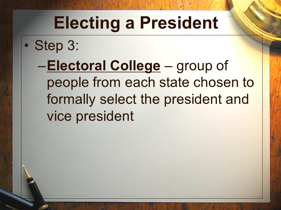 Electing a President Step 3: