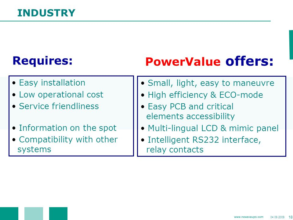 Requires: PowerValue offers: INDUSTRY Easy installation