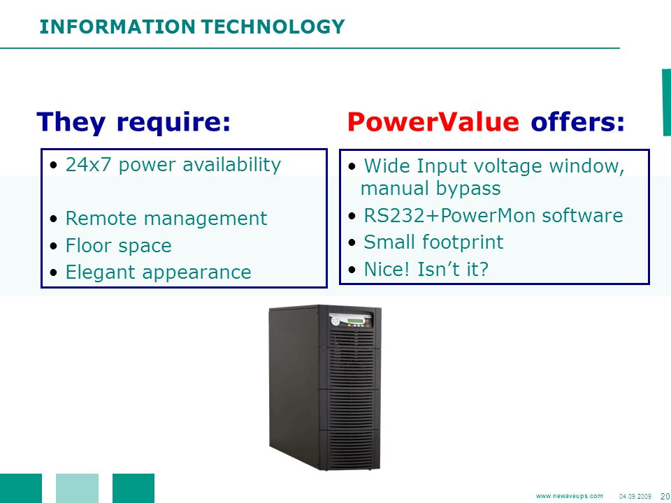 They require: PowerValue offers: