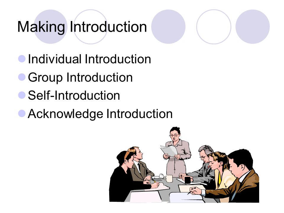 Making Introduction Individual Introduction Group Introduction