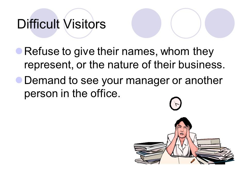 Difficult Visitors Refuse to give their names, whom they represent, or the nature of their business.
