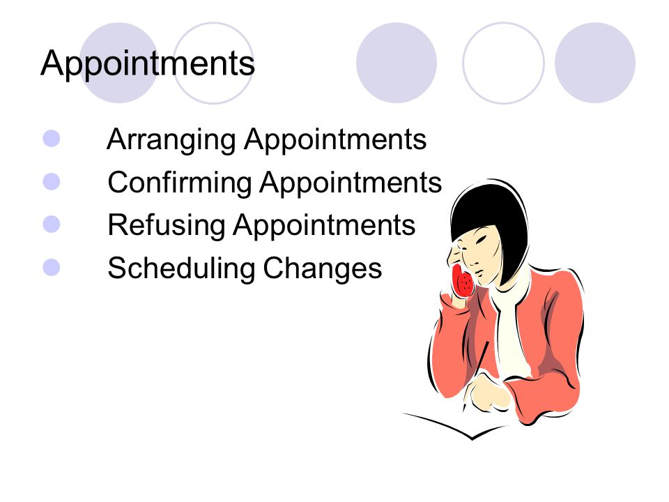 Appointments Arranging Appointments Confirming Appointments