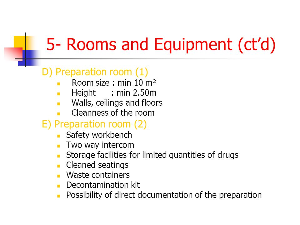 5- Rooms and Equipment (ct'd)