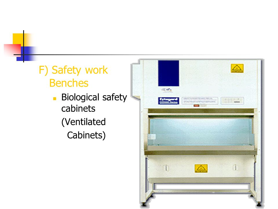 F) Safety work Benches Biological safety cabinets (Ventilated