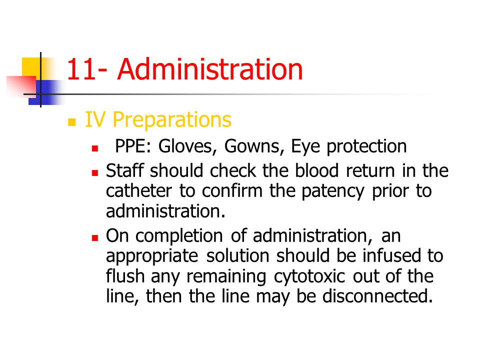 11- Administration IV Preparations PPE: Gloves, Gowns, Eye protection