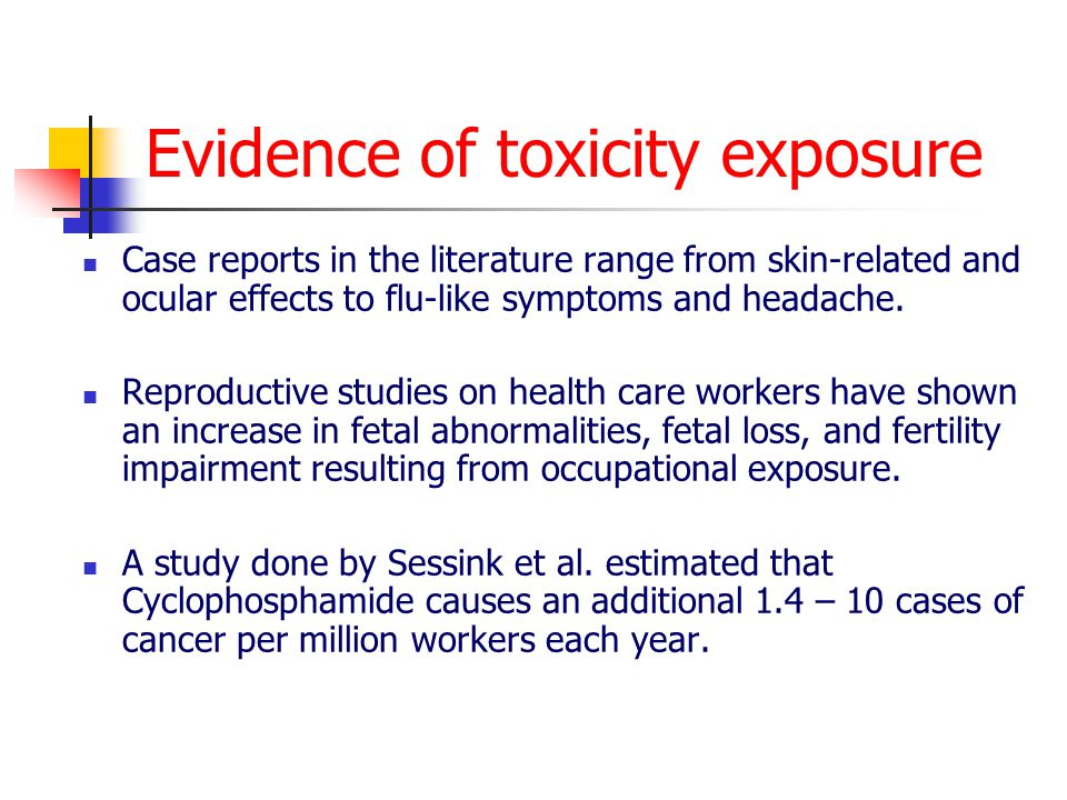 Evidence of toxicity exposure