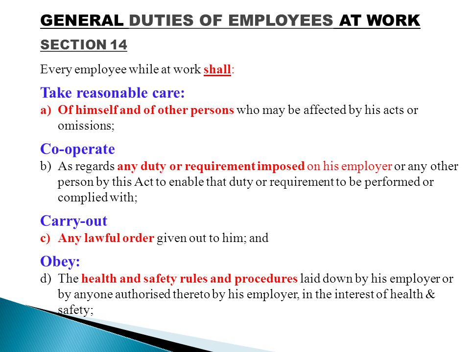 GENERAL DUTIES OF EMPLOYEES AT WORK