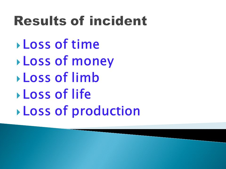 Results of incident Loss of time Loss of money Loss of limb Loss of life Loss of production