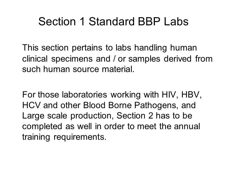 Section 1 Standard BBP Labs