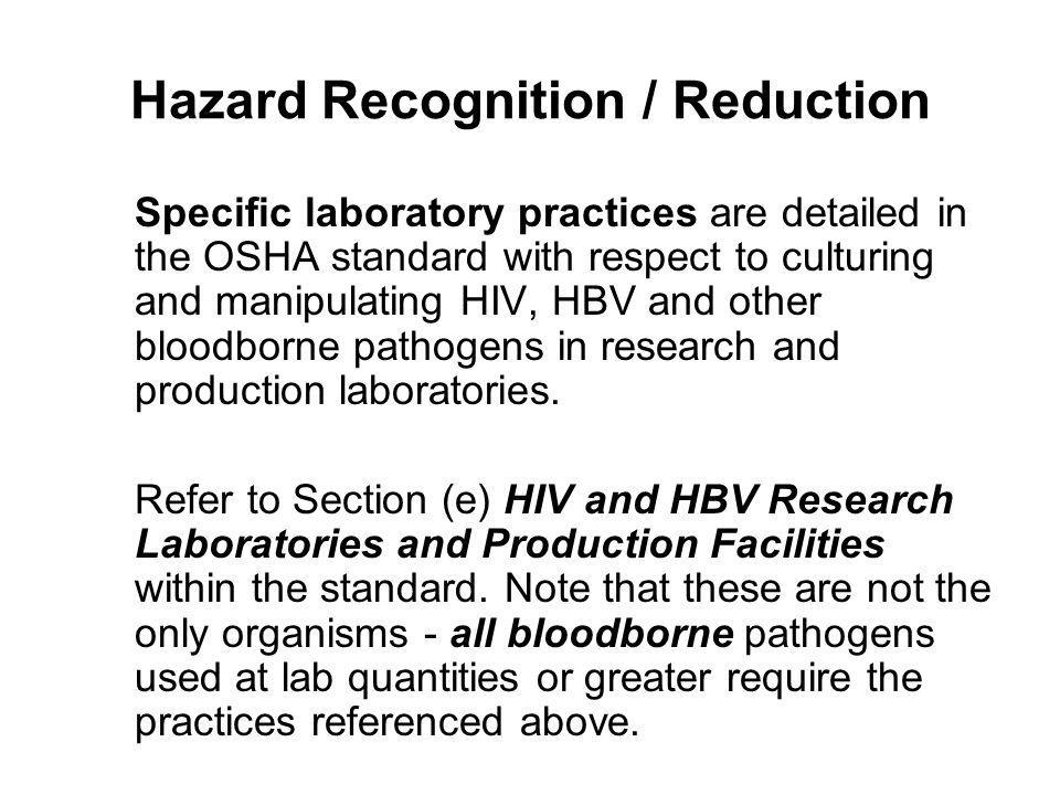 Hazard Recognition / Reduction
