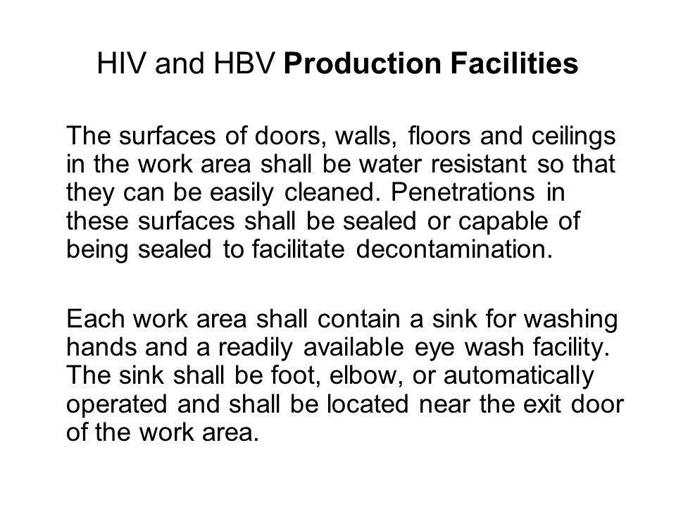 HIV and HBV Production Facilities