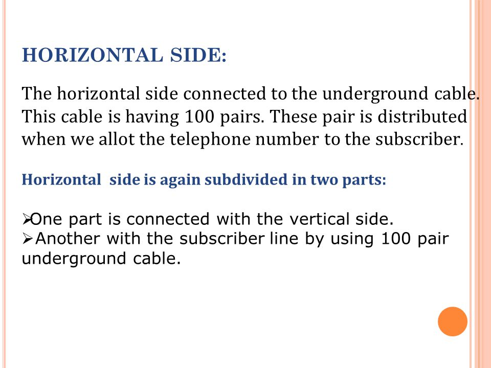 HORIZONTAL SIDE: The horizontal side connected to the underground cable.