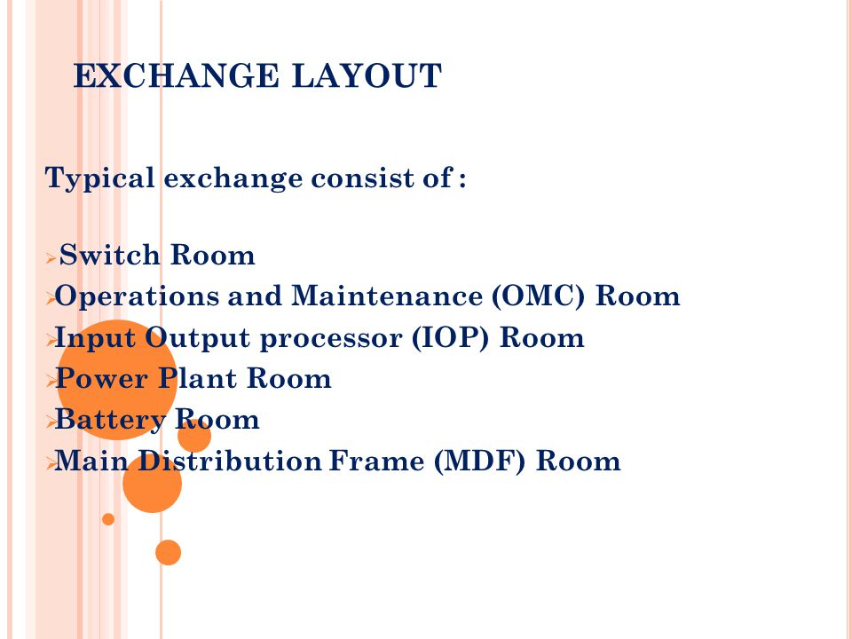 EXCHANGE LAYOUT Typical exchange consist of :