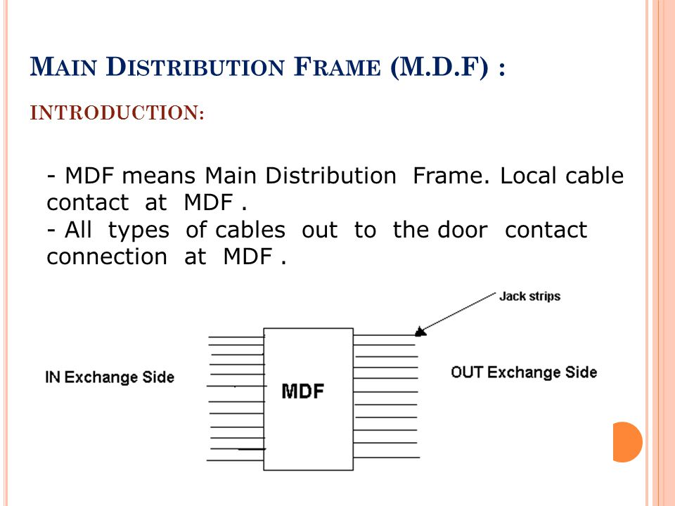 Main Distribution Frame (M.D.F) : INTRODUCTION: