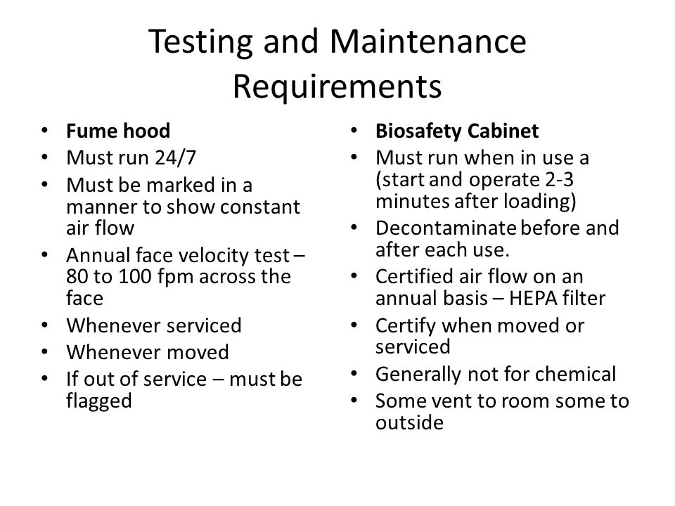 Testing and Maintenance Requirements