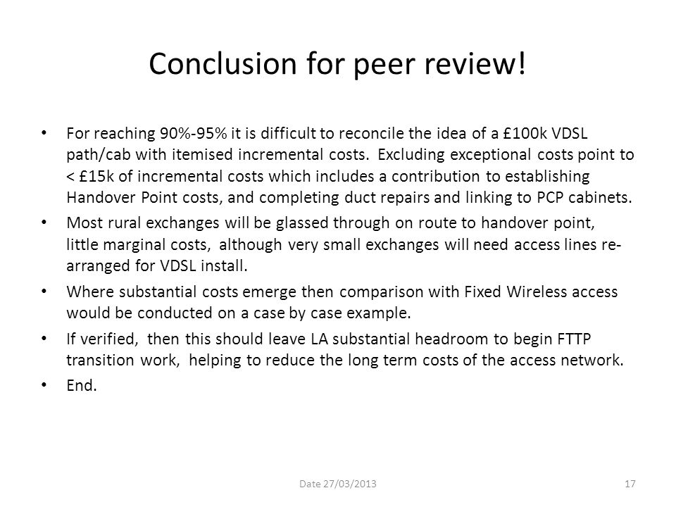 Conclusion for peer review!