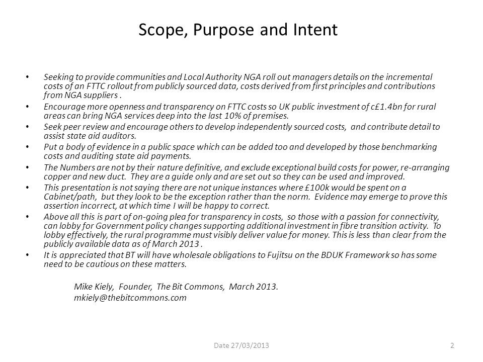 Scope, Purpose and Intent