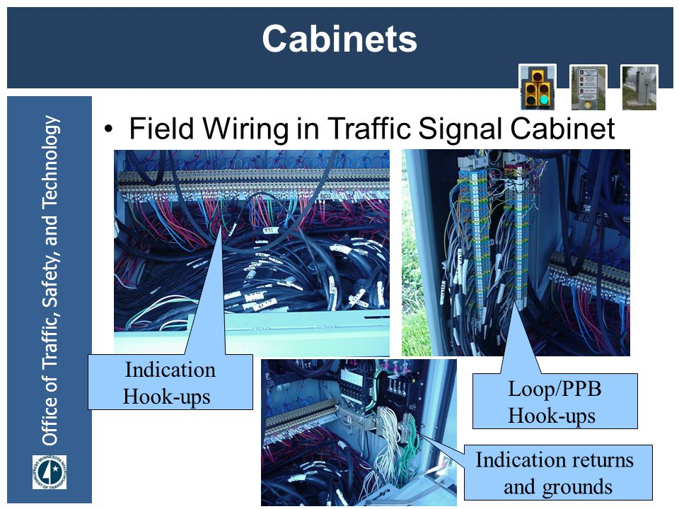 Cabinets Field Wiring in Traffic Signal Cabinet Indication Hook-ups
