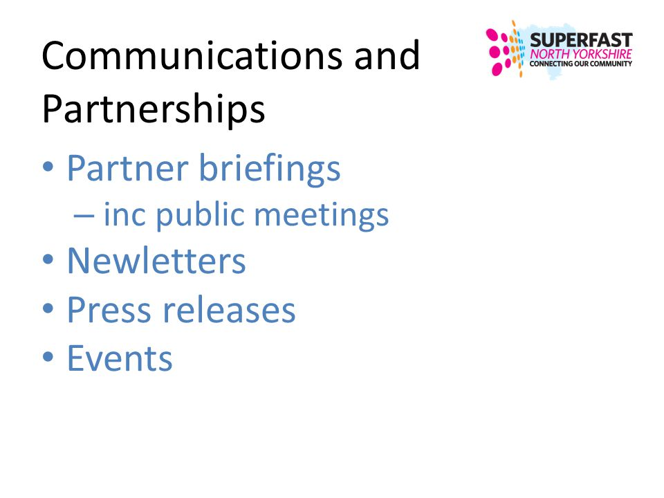 Communications and Partnerships