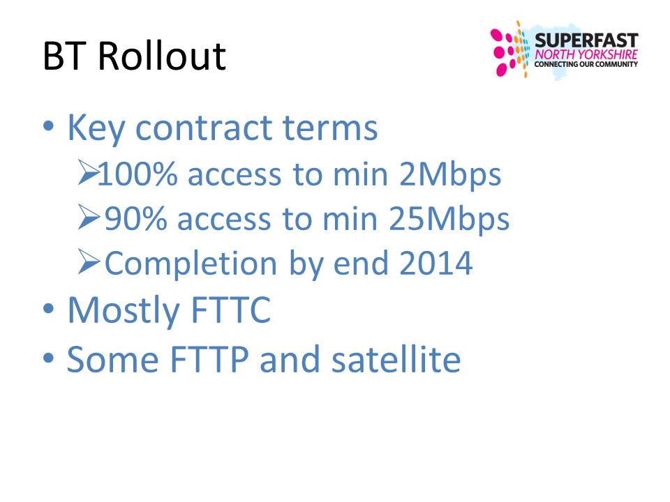 BT Rollout Key contract terms Mostly FTTC Some FTTP and satellite