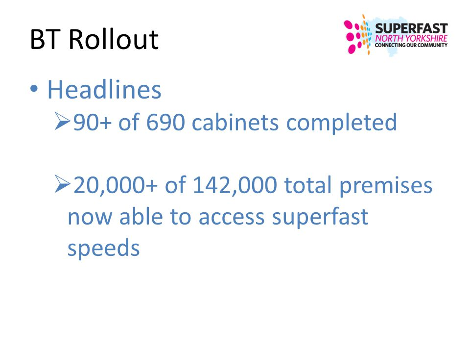 BT Rollout Headlines 90+ of 690 cabinets completed