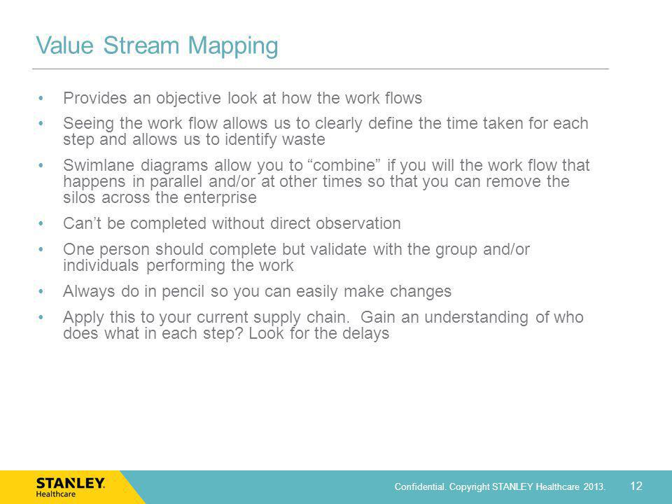 Value Stream Mapping Provides an objective look at how the work flows