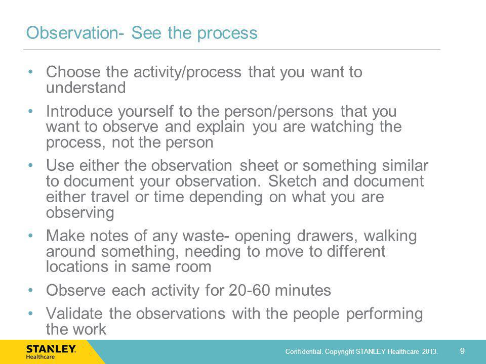 Observation- See the process