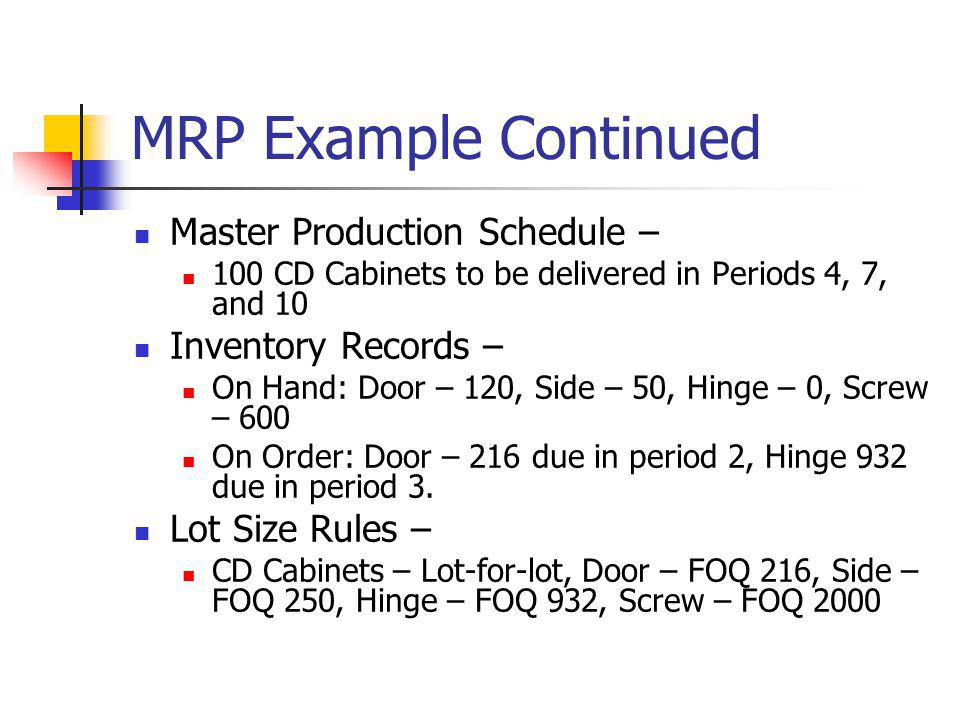 MRP Example Continued Master Production Schedule – Inventory Records –