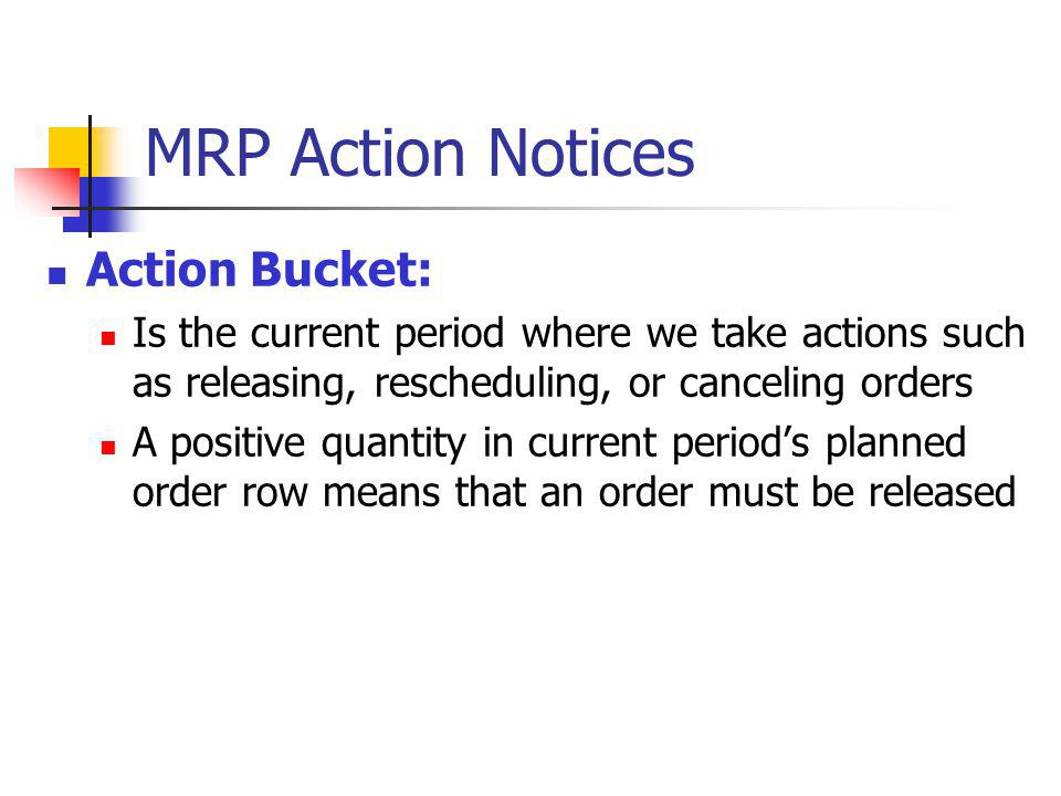MRP Action Notices Action Bucket: