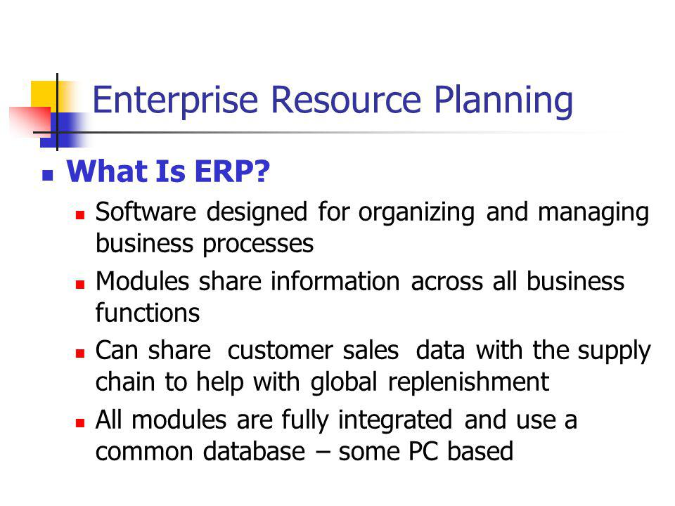 enterprise resource planning the usefulness benefits What is erp the acronym erp stands for enterprise resource planning  examples of specific business benefits include: improved business insight .
