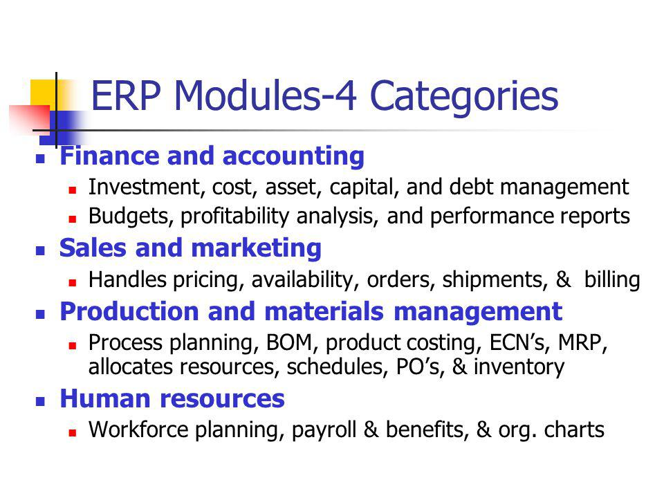 ERP Modules-4 Categories