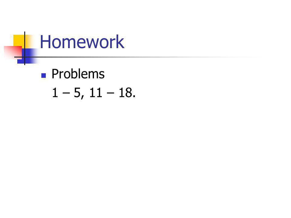 Homework Problems 1 – 5, 11 – 18.