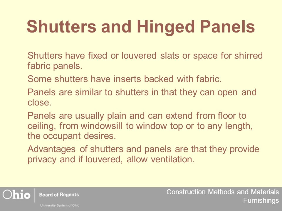 Shutters and Hinged Panels