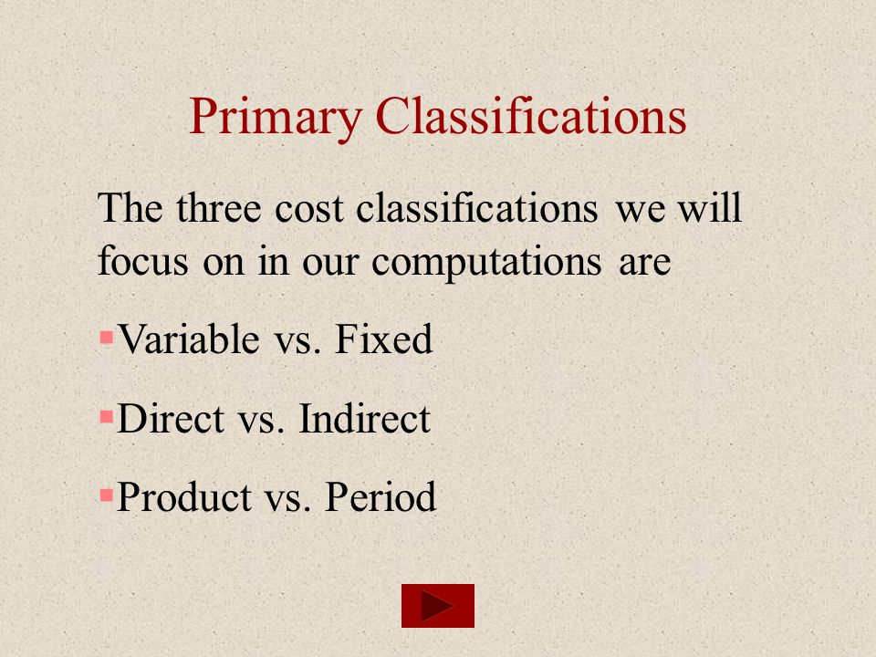 Primary Classifications