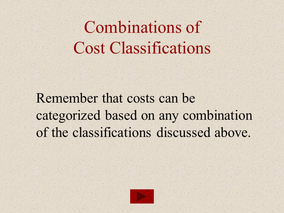 Combinations of Cost Classifications