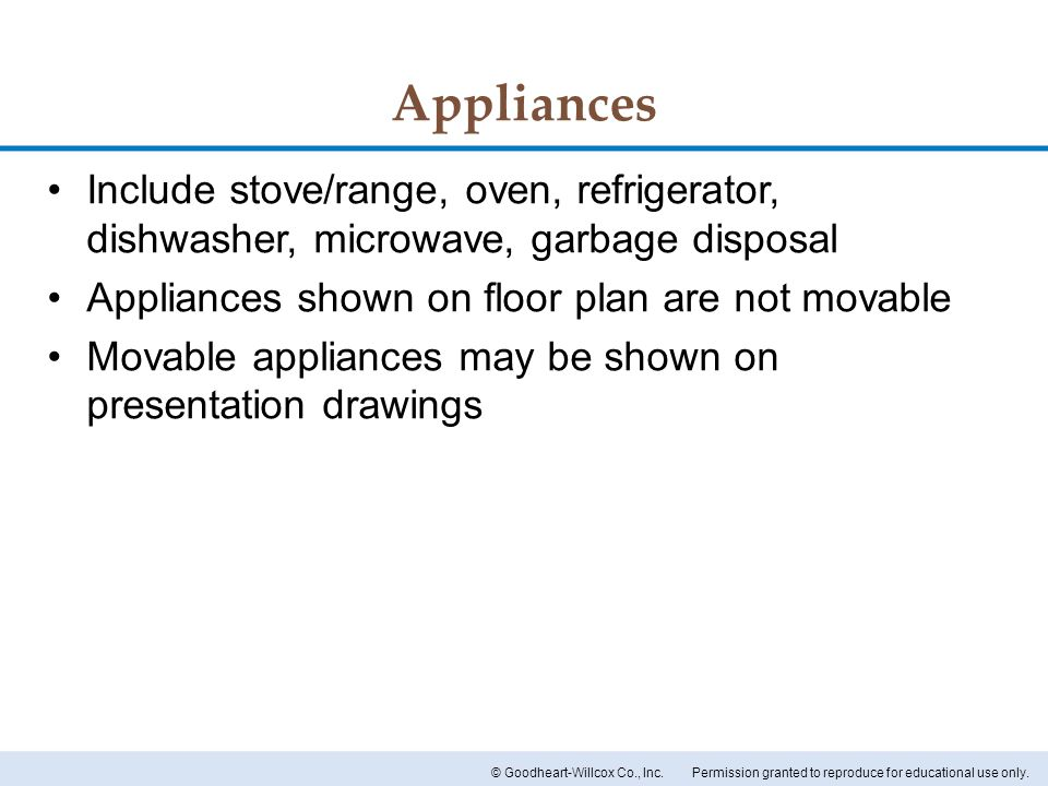 Appliances Include stove/range, oven, refrigerator, dishwasher, microwave, garbage disposal. Appliances shown on floor plan are not movable.