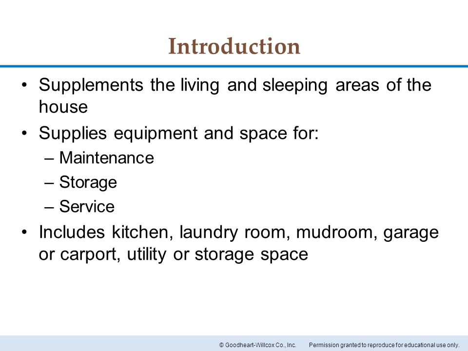 Introduction Supplements the living and sleeping areas of the house