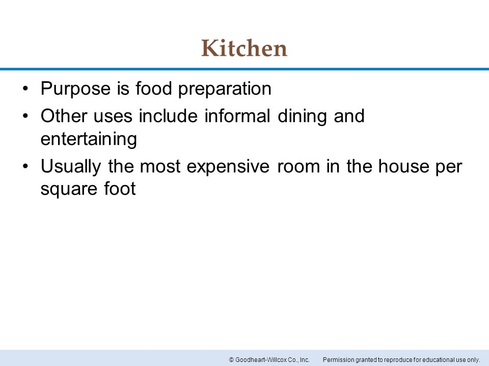 Kitchen Purpose is food preparation