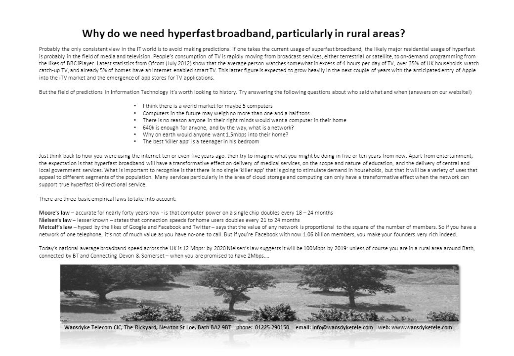 Why do we need hyperfast broadband, particularly in rural areas